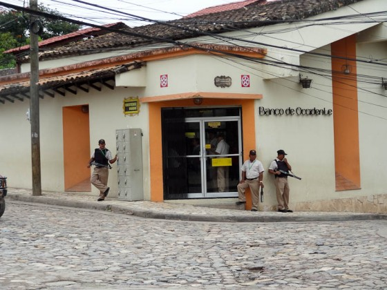 Guarding A Bank In Honduras