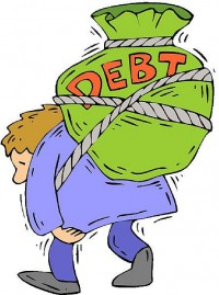 man carrying bag of debt on back
