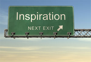 traffic sign that says inspiration next exit