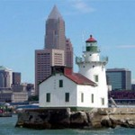 Cleveland lighthouse with downtown tall buildings