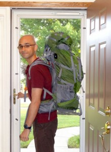 Adam with backpack leaving home