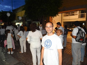 Me walking in a march for peace in Leon, Mexico