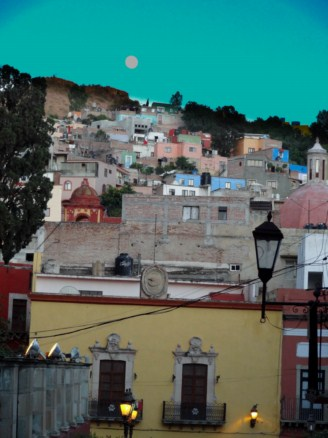 Hill in Guanujuato, Mexico illuminated by the moon
