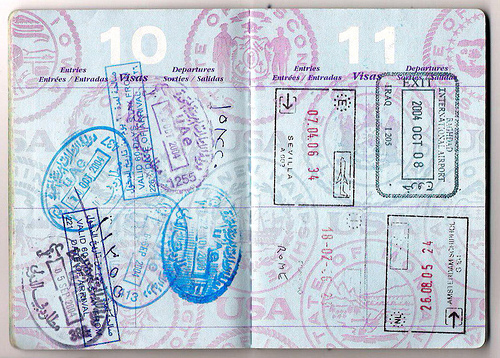 passport stamps in an american passport