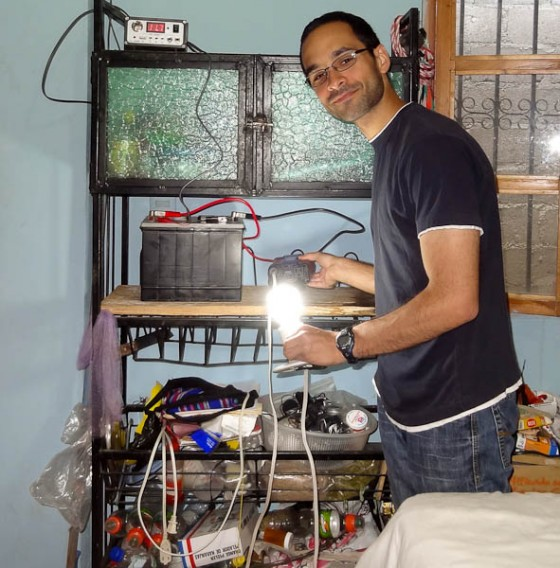 The Panel Is Powering An AC Lightbulb Via The DC to AC Inverter!