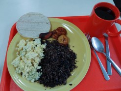 Typical Breakfast - Casado, Eggs, Fried Plaintains, Tortilla, Coffee