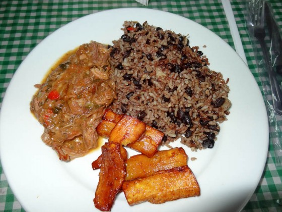 Rice & Beans, Casado, Fried Plantains, Mystery Meat