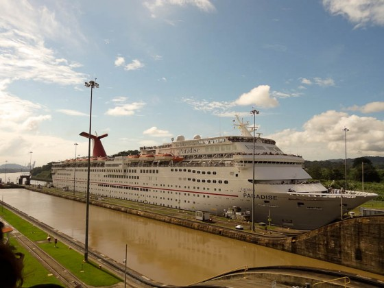 Cruise Ship Entering The Lock
