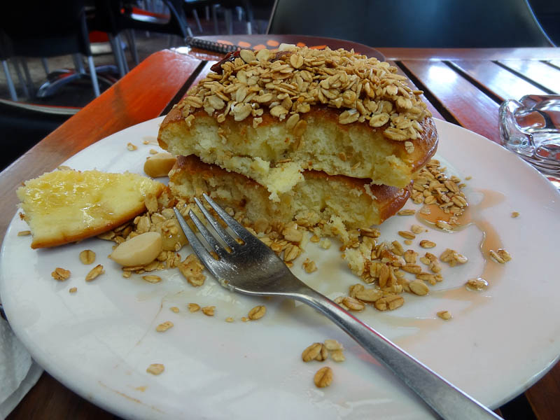 Wonderful Breakfast - Thick Pancakes Topped With Granola And Honey