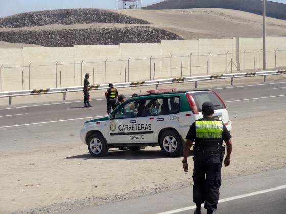 Highway Police Checking IDs In Peru