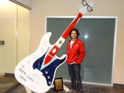 With A Drew Carey Show Themed Guitar In The Home Of Rock And Roll - Cleveland