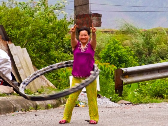 Peaceful Morning Hula Hoop Exercise - Taken 1-Aug-2012 - Vietnam/Laos Border