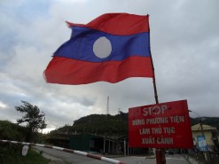 Lao Flag At The Border