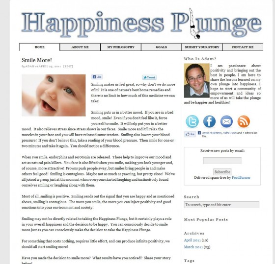 HappinessPlunge.com Version 1.0