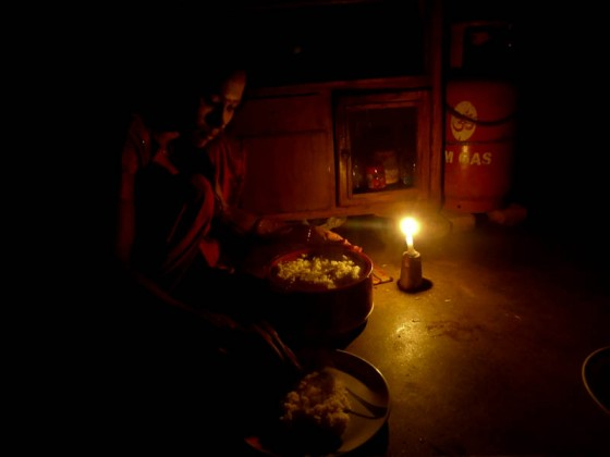 Electricity Rationing Dinner By Candlelight - Taken 15-Oct-2012 - Kathmandu, Nepal 