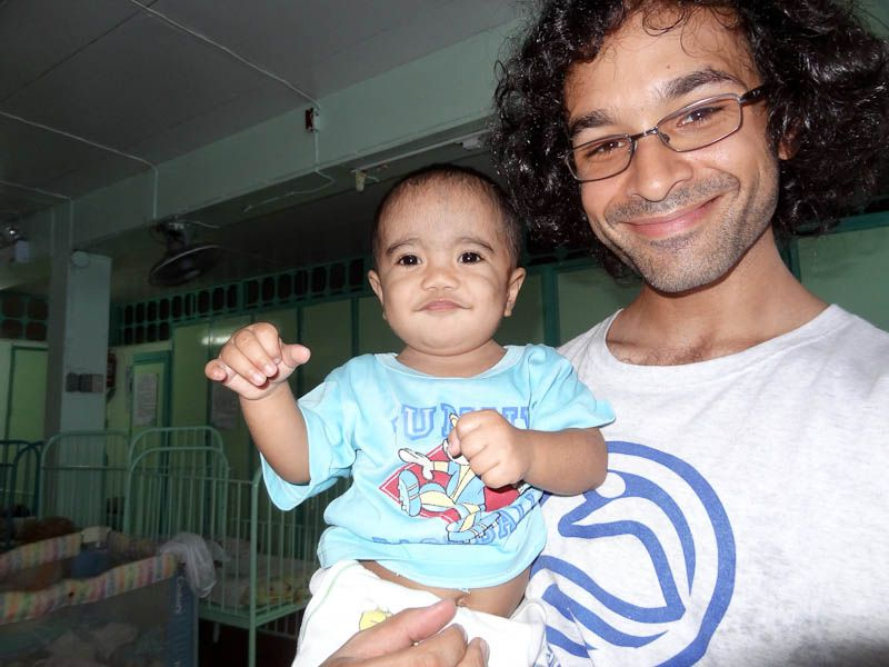 With a little boy at the mother teresa home