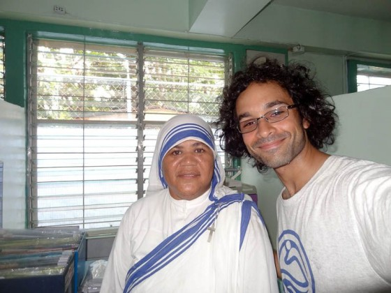 With a nun at the mother teresa home