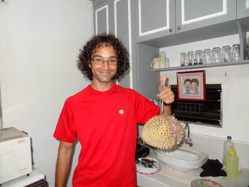 carrying a durian