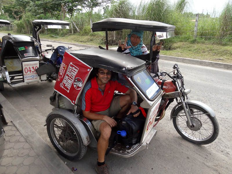 riding in a tricycle