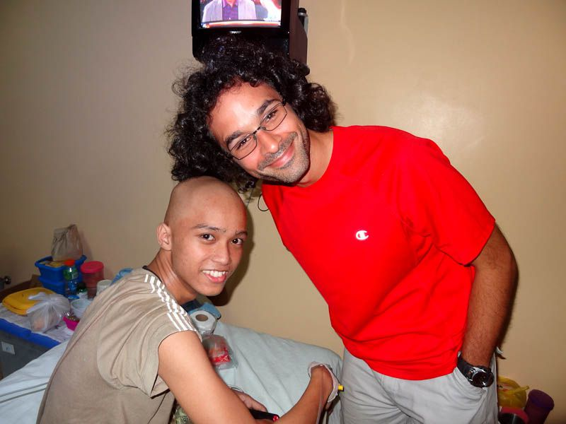 with a boy with cancer