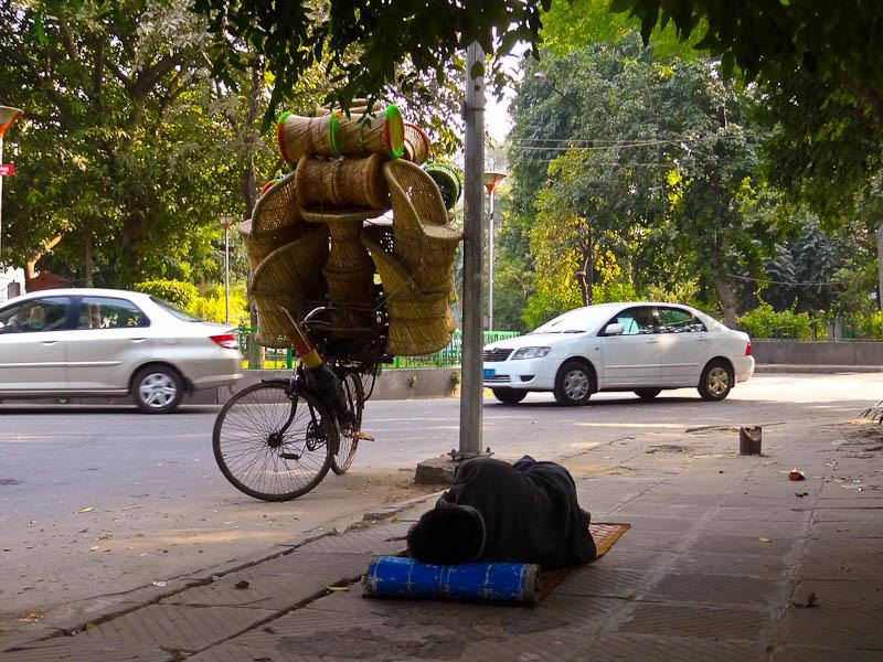 Stool Vendor Naptime - Taken 19-Nov-2012 - Delhi, India