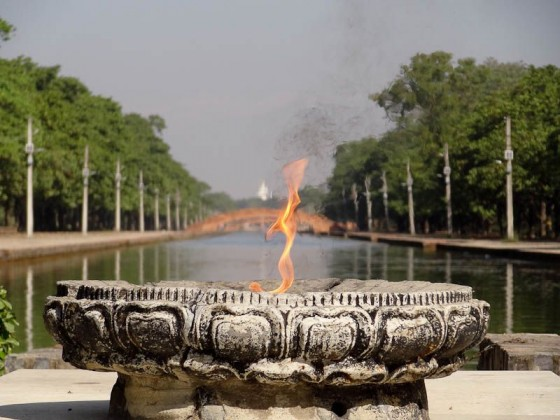 World Peace Flame With World Peace Pagoda Behind
