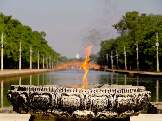 World Peace Flame And Pagoda - Taken 1-Nov-2012 - Lumbini, Nepal