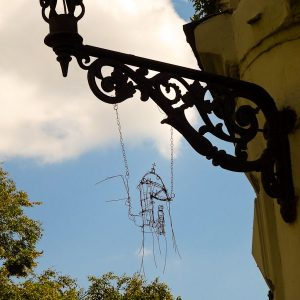 Hanging Lamppost Art - Taken 15-Aug-2013 - Lviv, Ukraine