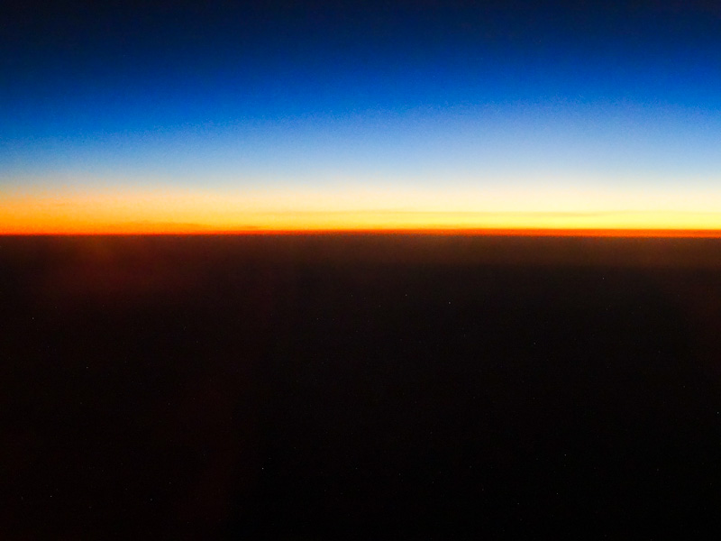 Golden Horizon From 40,000 Feet - Taken 27-Jan-2014 - Atlantic Ocean