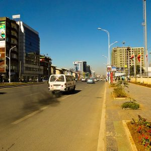 Africa Street In Addis Ababa, Ethiopia And A Belching Bus