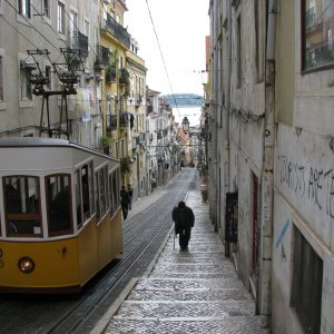Tram On A Hilly Street - Taken 13-Apr-2009 - Lisbon, Portugal