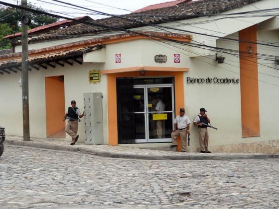 Guarding A Bank In Honduras