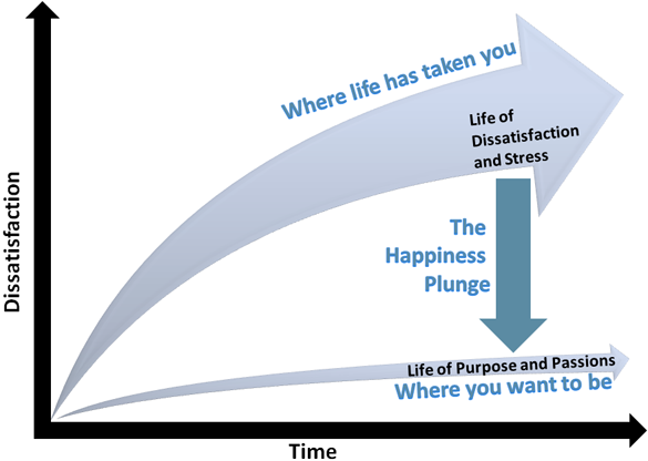 dissatisfaction happiness plunge diagram