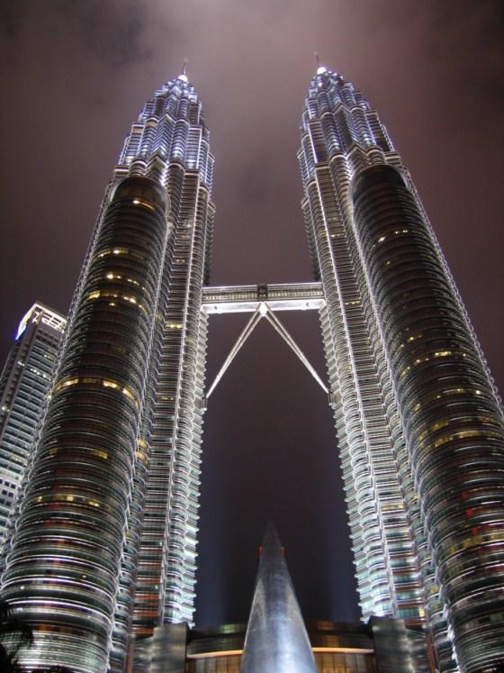 Petronas Towers At Night - Taken 4-Oct-2004 in Kuala Lumpur, Malaysia
