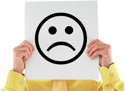 man with sad face sign picture
