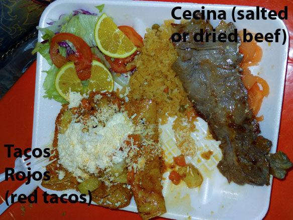 dinner of cecina and tacos rojos