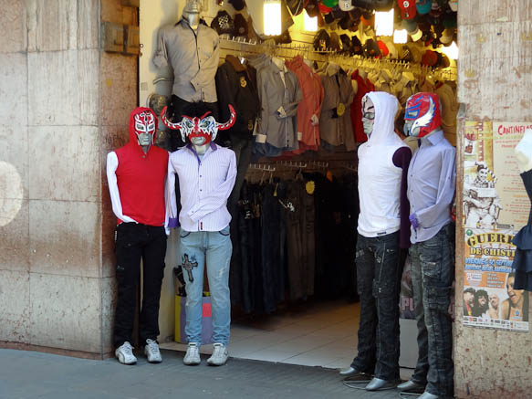 mannequins with luchador masks
