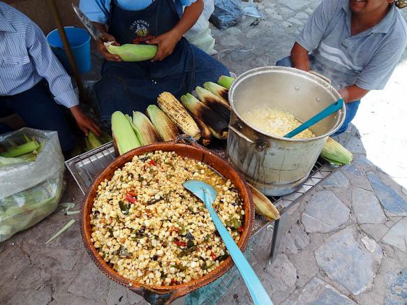 corn stand stall in cerro san pedro