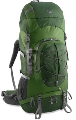 Green REI Backpack for backpacking and world travel