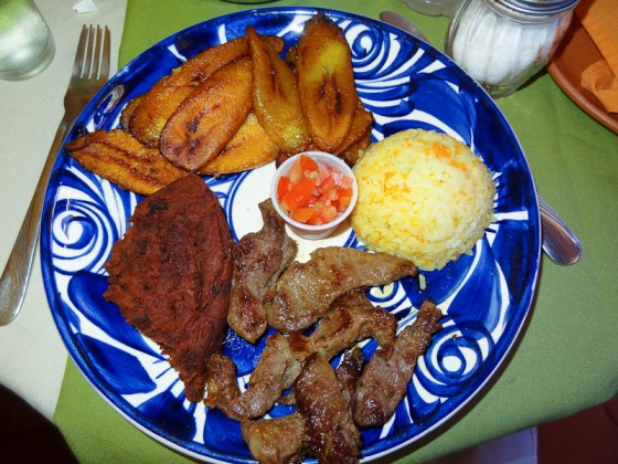 Beef, Fried Beans, Rice, Salsa, Fried Plaintains