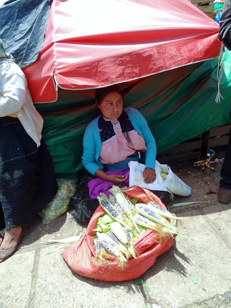 Lady selling corn on the street