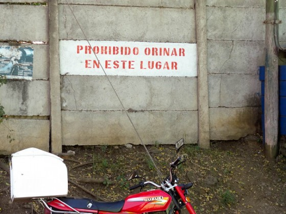 Prohibited To Pee In This Location At Managua Bus Station