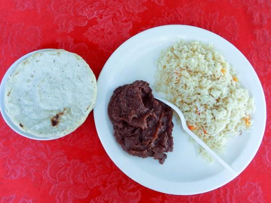 Tortilla, Beans, Rice