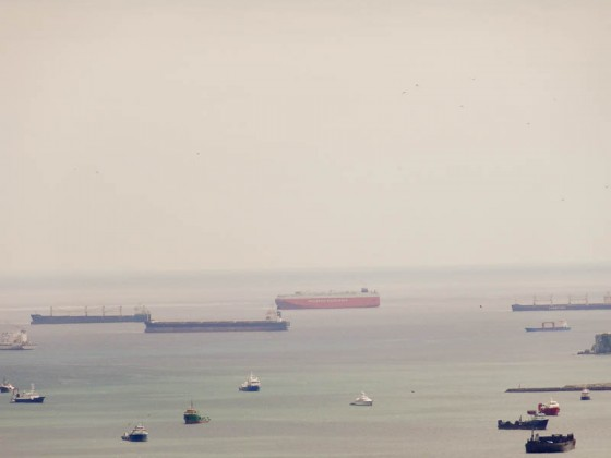 Line Of Ships Waiting To Enter Panama Canal