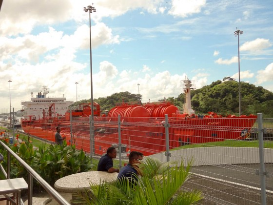 Oil-Gas Tanker Passing Through Panama Canal