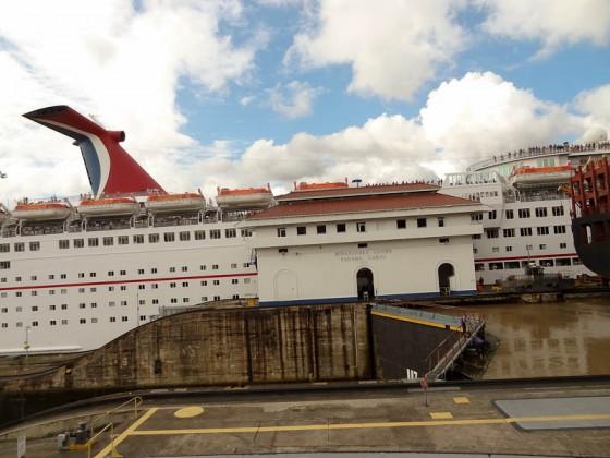 Cruise Ship Passing Through The Lock