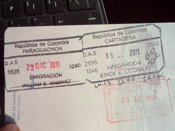 6 Hours Later, Colombia And Venezuela Immigration Stamps