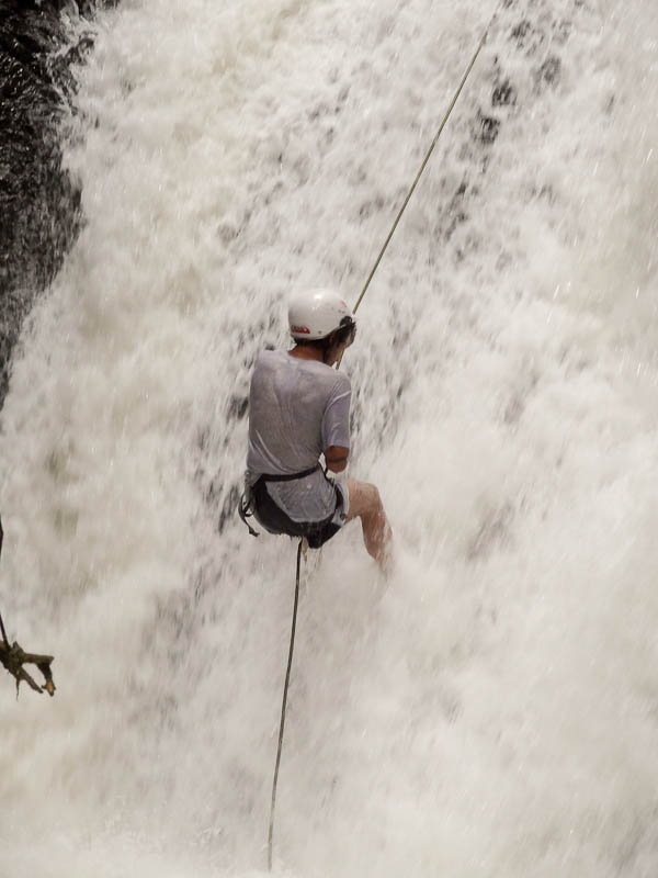 Rappelling Down The Waterfall