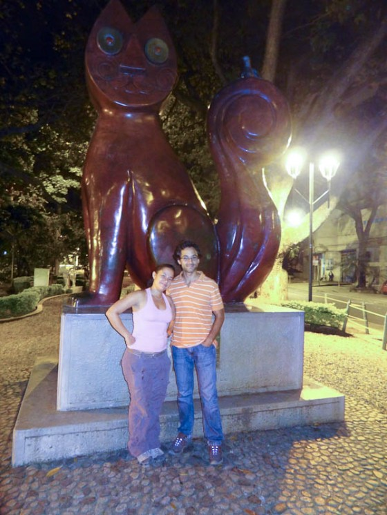 In Front Of Cat Statue With Andrea