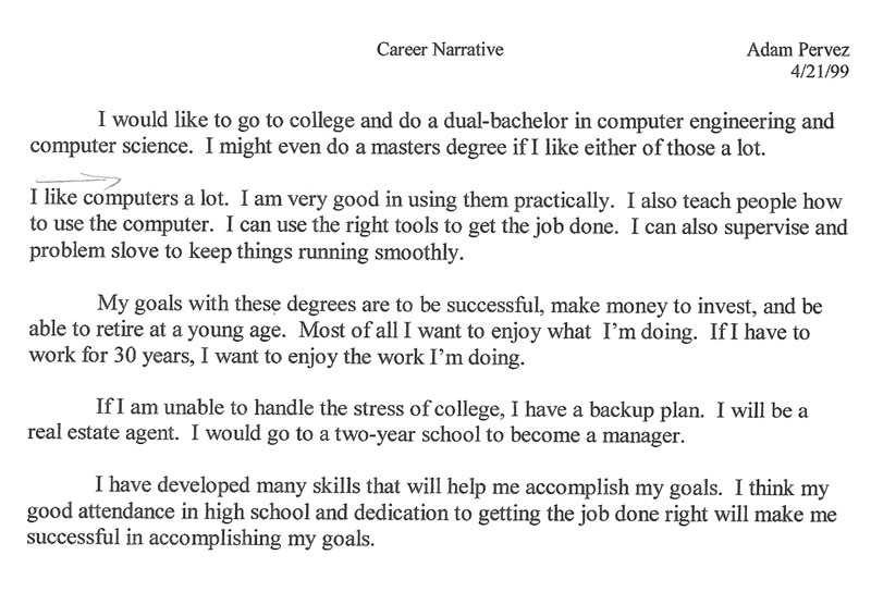 My Career Narrative From 1999